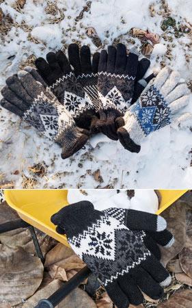 ツートンカラーの配色フリース裏地雪の手袋