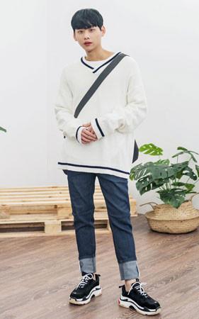 【春コーディネートセット】オ・バフェットニット+デニム