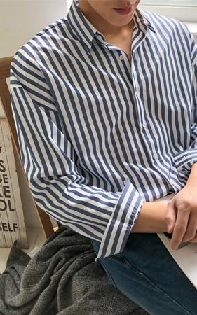 オーバーフィットブロックストライプシャツ
