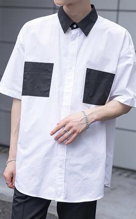 リブ配色半そでシャツ