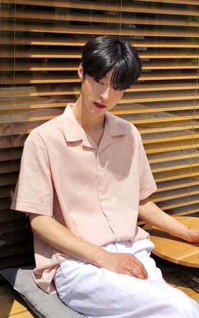 リネンパジャマカラー半袖シャツ