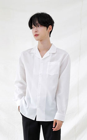 ブラックnホワイトオープンカラーシャツ