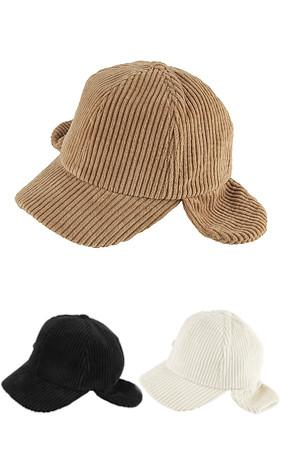 コーデュロイキャップ耳道理帽子