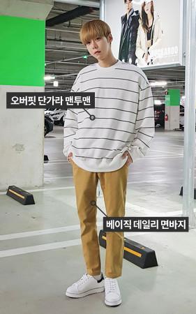 【コーディネートセット】ダンガラスエットシャツ+ベーシックデイリーコットンパンツ