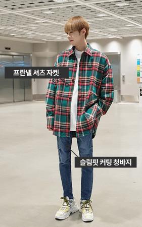 【コーディネートセット】オーバーフィットシャツジャケット+スリムフィットカッティングデニム