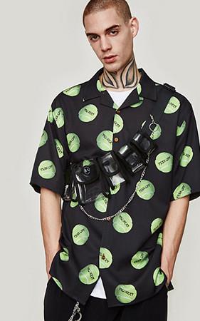 テニスボールパタンオーバーフィットシャツ