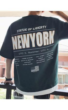 PAUSEニューヨーク捺染半そでティー
