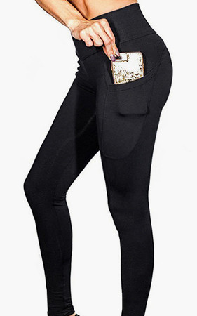 women <br>ポケットレギンスブラックヨガのスーツ