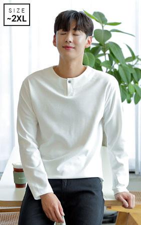 <b>天然繊維生地の特殊加工法<br>グッドクオリティオススメ長袖Tシャツ</b> <br>ファインワンボタン半そでTシャツ