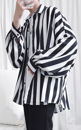 先行予約予約販売30% <br>ロードストライプオーバーフィットシャツ