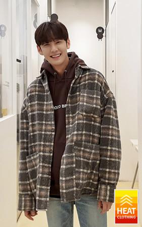 暖かい起毛チェックのジャケット