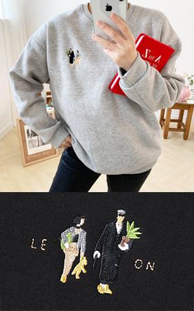 マチルダ・レオン刺繍オーバーフィット起毛スエットシャツ<br> 1 + 1のお買い上げ2千ウォン追加割引