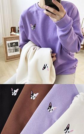 フレンチブルドッグオーバーフィット起毛スエットシャツ<br> 1 + 1のお買い上げ2千ウォン追加割引