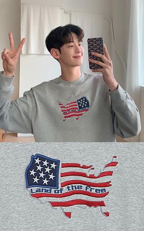 高品質星条旗刺繍スエットシャツ