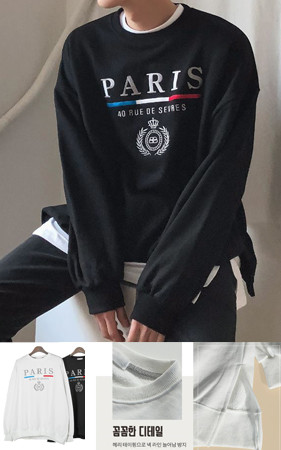 パリ刺繍オーバーフィットスエットシャツ