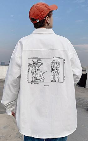 カウボーイ捺染オーバーフィットシャツ